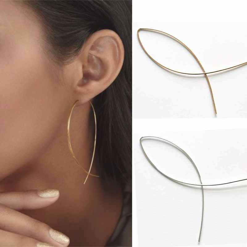 New Hot 1 Pair Punk Simple Long Wire Fish Stud Earrings Curved Line Alloy Brinco Earrings Of Women Jewelry