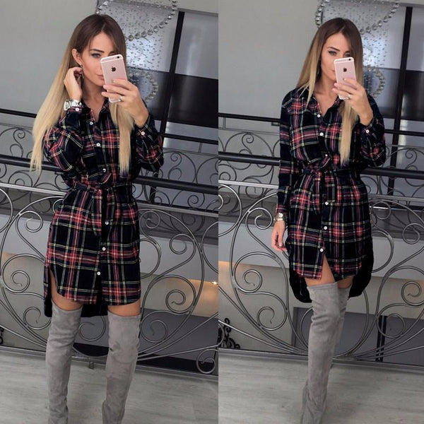 Women Blouses Long Sleeve Plaid Shirts Turn Down Collar Shirt Casual Tunic