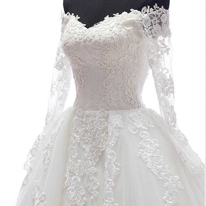 Romantic Ball Gown Wedding Dress With Long Sleeves Appliques ...