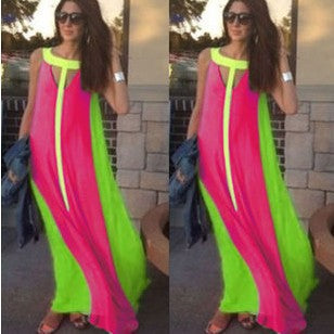 Summer Dress Sleeveless Stitching Maxi Dress
