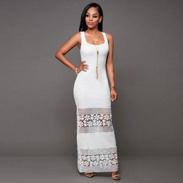 Sexy Lace Patchwork Women Skinny Sleeveless Pencil Long Bodycon Party Maxi Dress