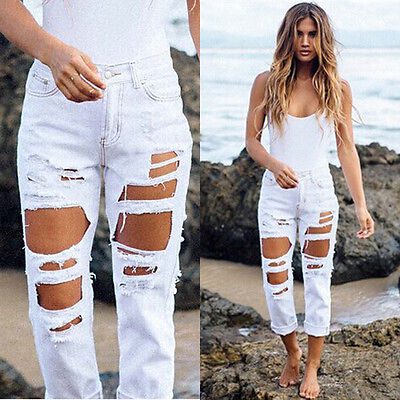Ripped Jeans High Waist Denim Jeans Pencil Skinny Women Jeans Pants Trousers