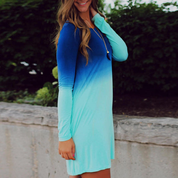 Sea Blue Ocean Fashion Summer Dress Women\'s Long Sleeve Tiered Cute Gradient color Sequin Short Loose Dress