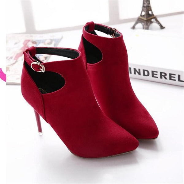 New Fashion Women Buckle Pointed Toe High Heels Ankle Boots Winter Party Short Boots Shoes