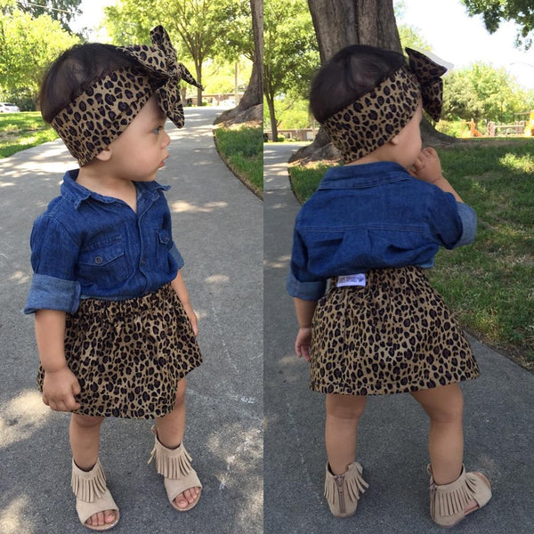 3PC Kids Baby Girls Lovely Denim s\Shirt + Leopard Dress Sets