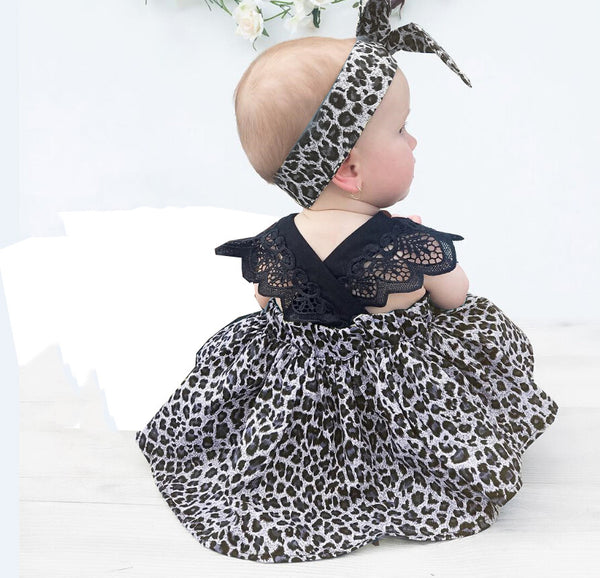 Leopard Newborn Baby Girls Dress  Kid Children Clothing  Baby Party Pageant Dresses + Headband