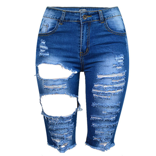 Women's Skinny High Waist Ripped Hole Stretchy Distressed Midi Short Jeans Washed Slim Denim Shorts