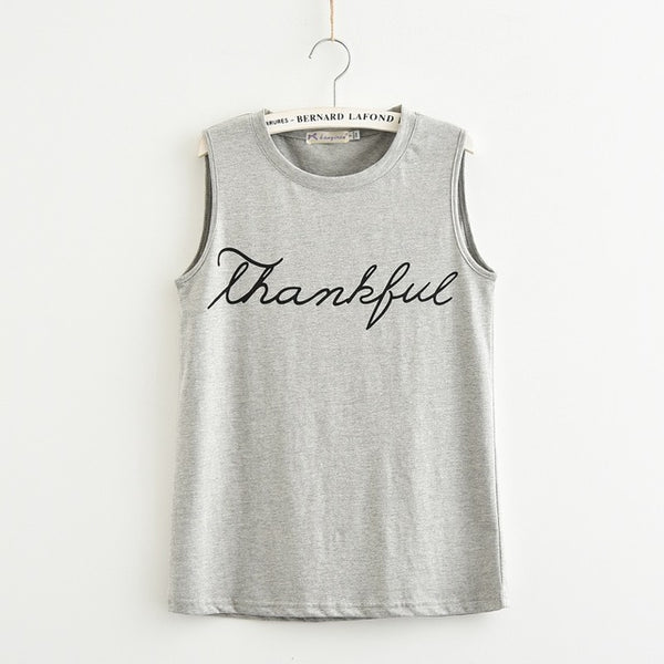 Fashion Letter Print Thankful Jersey Women Tank Tops Sleeveless Plus Size Loose Knitwear