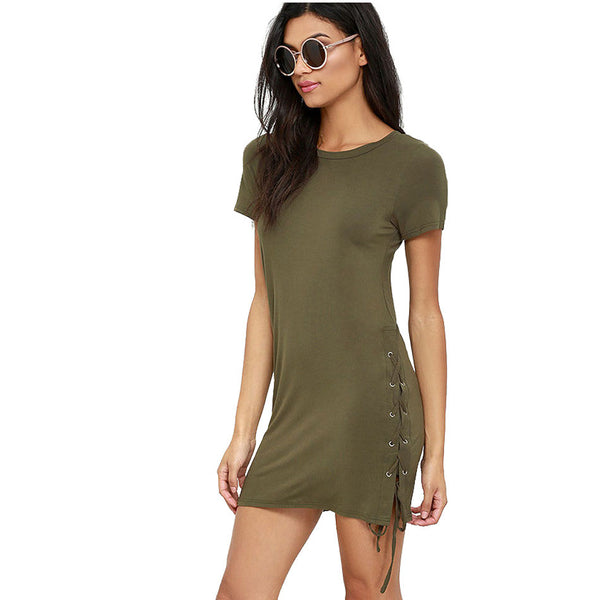 Summer Women T-Shirt O-Neck Short Sleeve Long Style T Shirts Shirt Womens Casual Tee Shirts Femme Green Tops Lade-up Mini  Dress