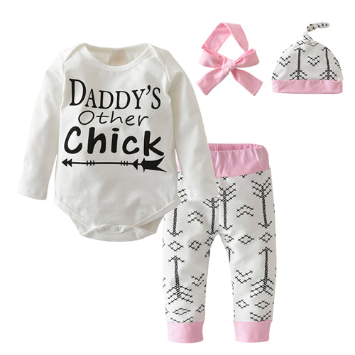 4pcs!!!Toddler Set Baby Clothing Set Cute Style Long Sleeve Letter Rompers+Arrowes Pants+Hat+Headband Newborn Baby Girl Clothes