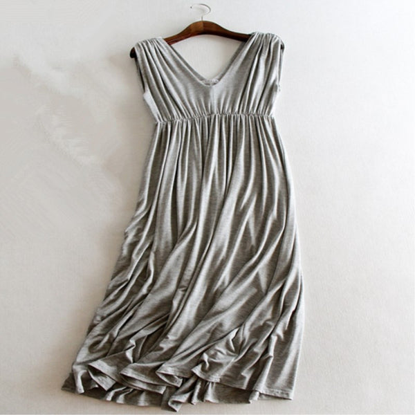 Summer Dress Women Casual Long Maxi Dress Pleated Vestido Modal Vneck Dresses Tank