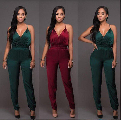 Womens Khaki V Neck Plunge Bodycon Sleeveless Sexy Backless Jumpsuit