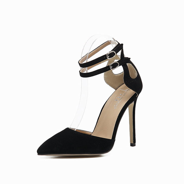 New Style women's high heels Cut-Outs Buckle Strap Stilettos Pointed Toe Pumps