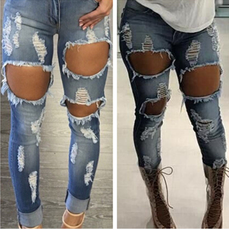 Sexy Jeans Women Destroyed Ripped Distressed Woman Fashion Casual Hole Denim Slim Pants Sexy Jeans Trousers Pants