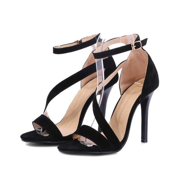 Shop Clearance Items Online Suede High Heels Sandals Women Plus Size Ankle Strap Summer Dress Shoes Open Toe Sandals