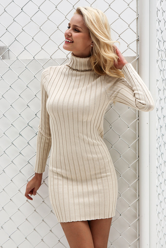 b32afd356f9 ... Casual turtleneck long knitted sweater dress women Cotton slim bodycon  dress pullover female Autumn winter dress ...