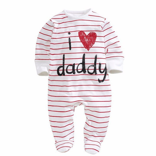 Cotton Baby Girl Clothes Polka Striped Baby Girls Romper Love Papa Mama Print Baby Girl Jumpsuits