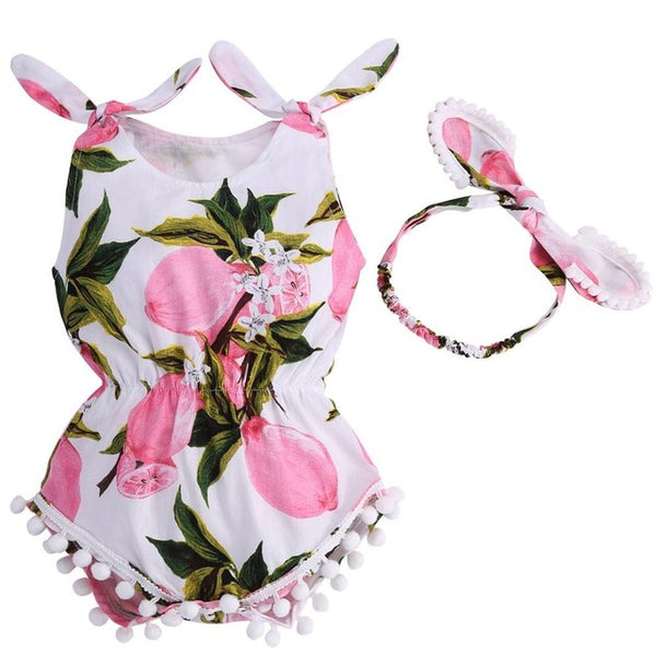 Baby Girl Romper Headband Elastic Waist Newborn Baby Clothes Set