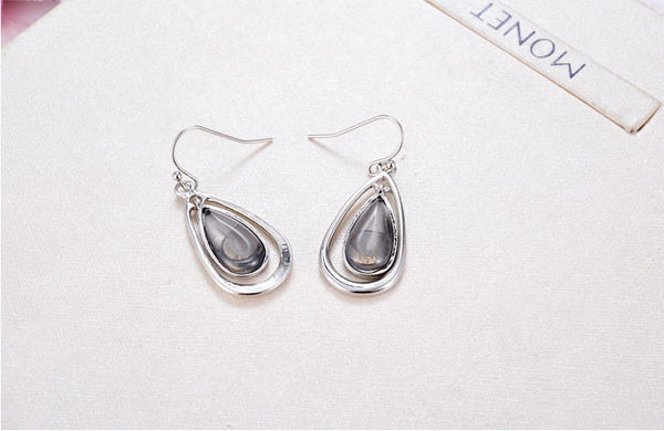 Silver Resin Water Drop Earrings Elegant Vintage Jewelry Accessories