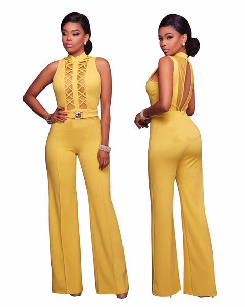 New Design Front Hollow Out Sexy High Neck Women Skinny Bodysuits Women Jumpsuits