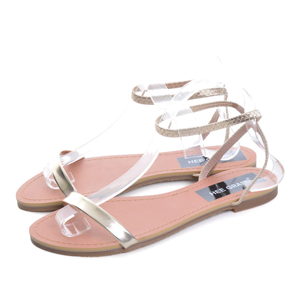 Patent Leather Shoes Woman Summer Slip On Ankle Strap Flats Sandals