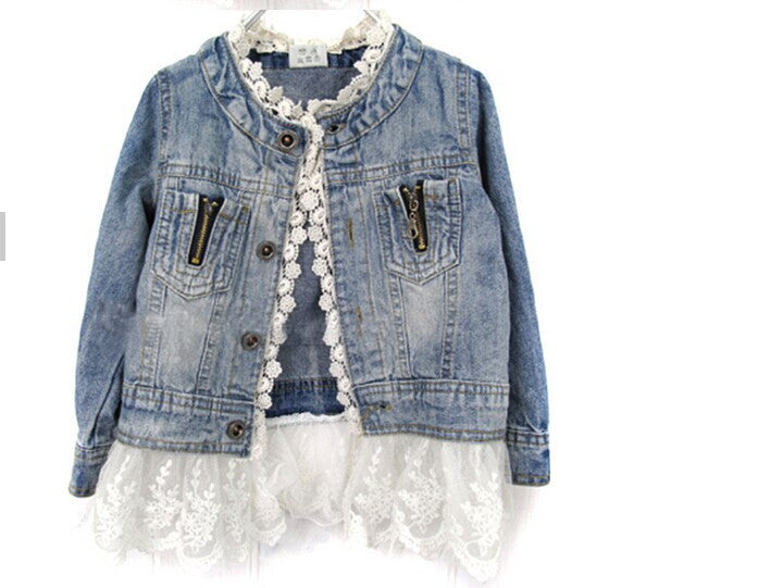 New Girls Kids Lace Cowboy Jacket Denim Top Button Costume Outfits Jean Jacket