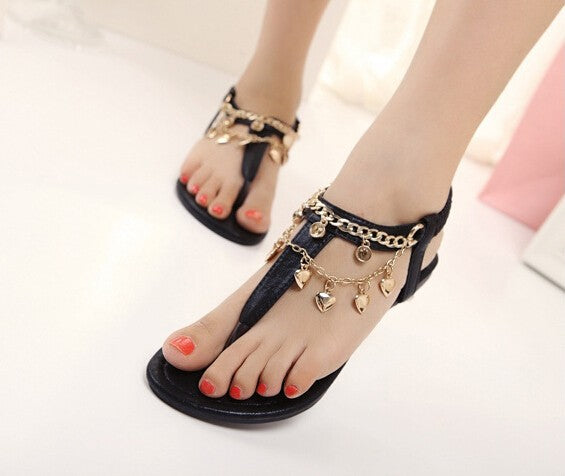 Women's Bohemia Chain Heart Sandals Shoes