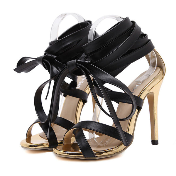 Women Knee High Heels Sexy Gladiator Lace up Stiletto Sandal