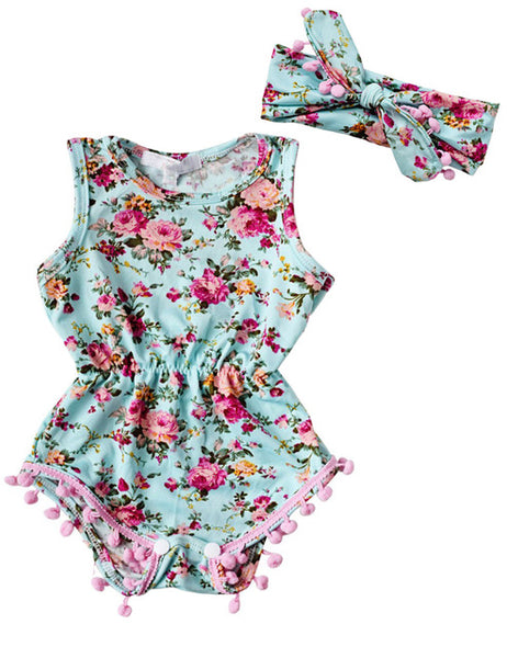 Baby Girl Romper Summer Romper Newborn Infant Baby Girls Floral Pom Pom Romper Jumpsuit Sunsuit Outfits Clothes Set 6-24M