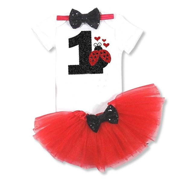 Baby Girls 1st Birthday Baby Bodysuit Romper+Tutu Skirt Outfits Infant Clothing Sets Baby Born Christening Gifts