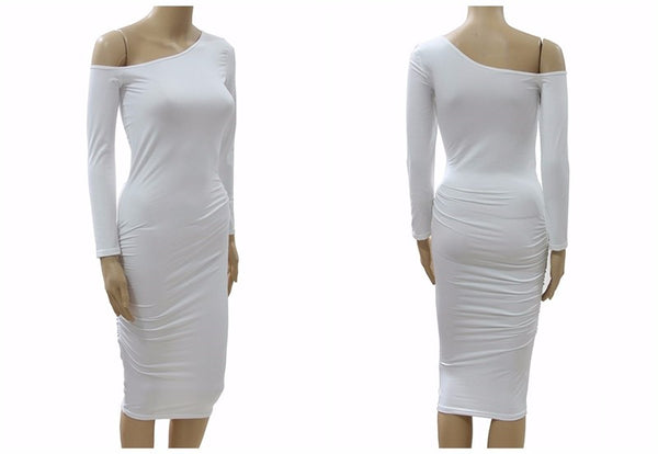 Asymmetrical Neck Off Shoulder Midi Body-con Women Long Sleeve Slim Sexy Pencil Party Dress