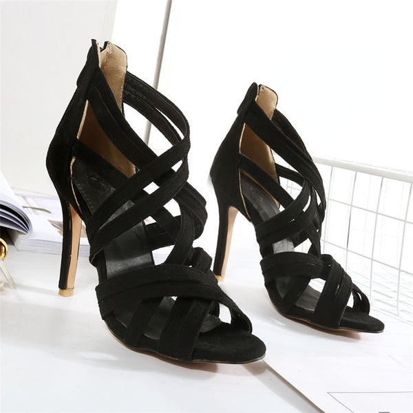 Womens Gladiator Sandals High Heels Open Toe Cross Strap Sandals