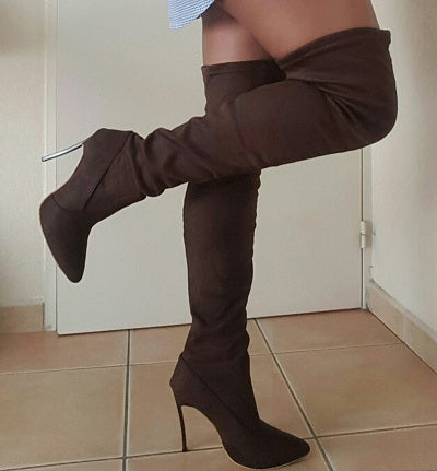 New Style Women Boots Shoes Over The Knee Boots Thigh High Pointed Shoes High Heels Boots