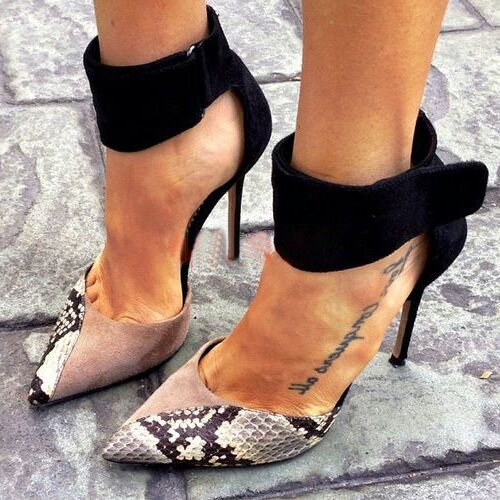 Serpentine Sexy Women High Heels Ankle Hook-Loop Pointed Toe Stiletto Pumps Woman Shoes