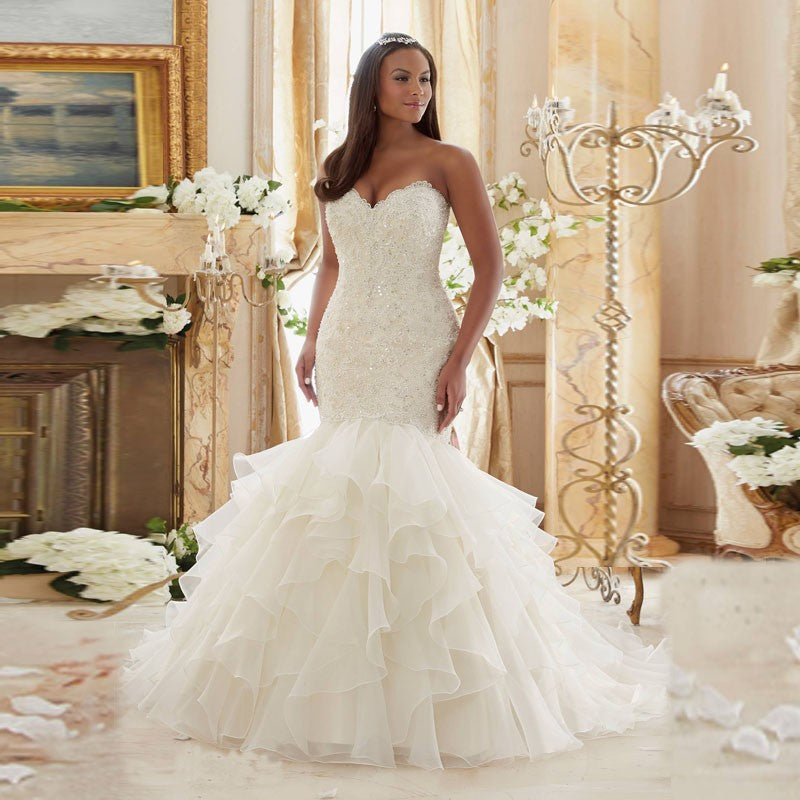 Sweetheart Mermaid Wedding Dresses Ruffles Organza Skirt Wedding Gowns