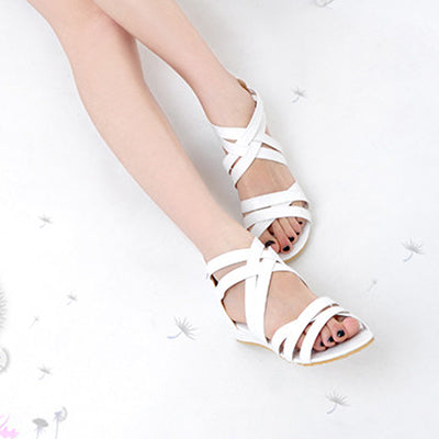 Women Cross Strap Flat Sandals Brand Gladiator Sexy Lady Flats Sandalias Beach Zipper Leisure Footwear Shoes