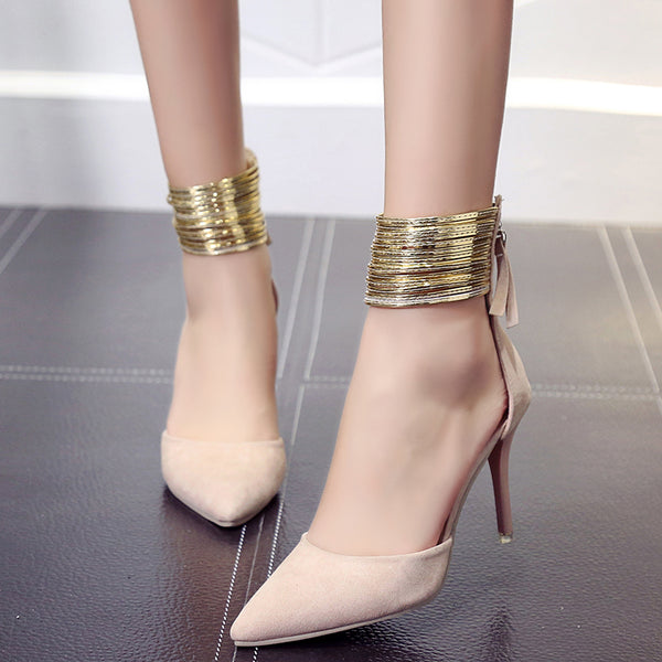 New Arrivals 2017 Fashion Shining Shallow Thin High Heels Pointed Toe Dress Pumps Shoes Women Sexy Pleated Pumps