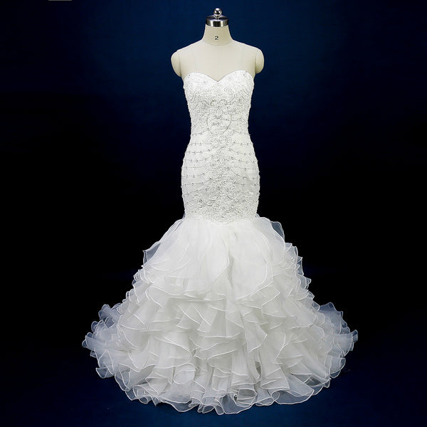 Glitter Greek Mermaid Wedding Dresses Women Bridal Gowns Strapless Ruffled Organza Beads
