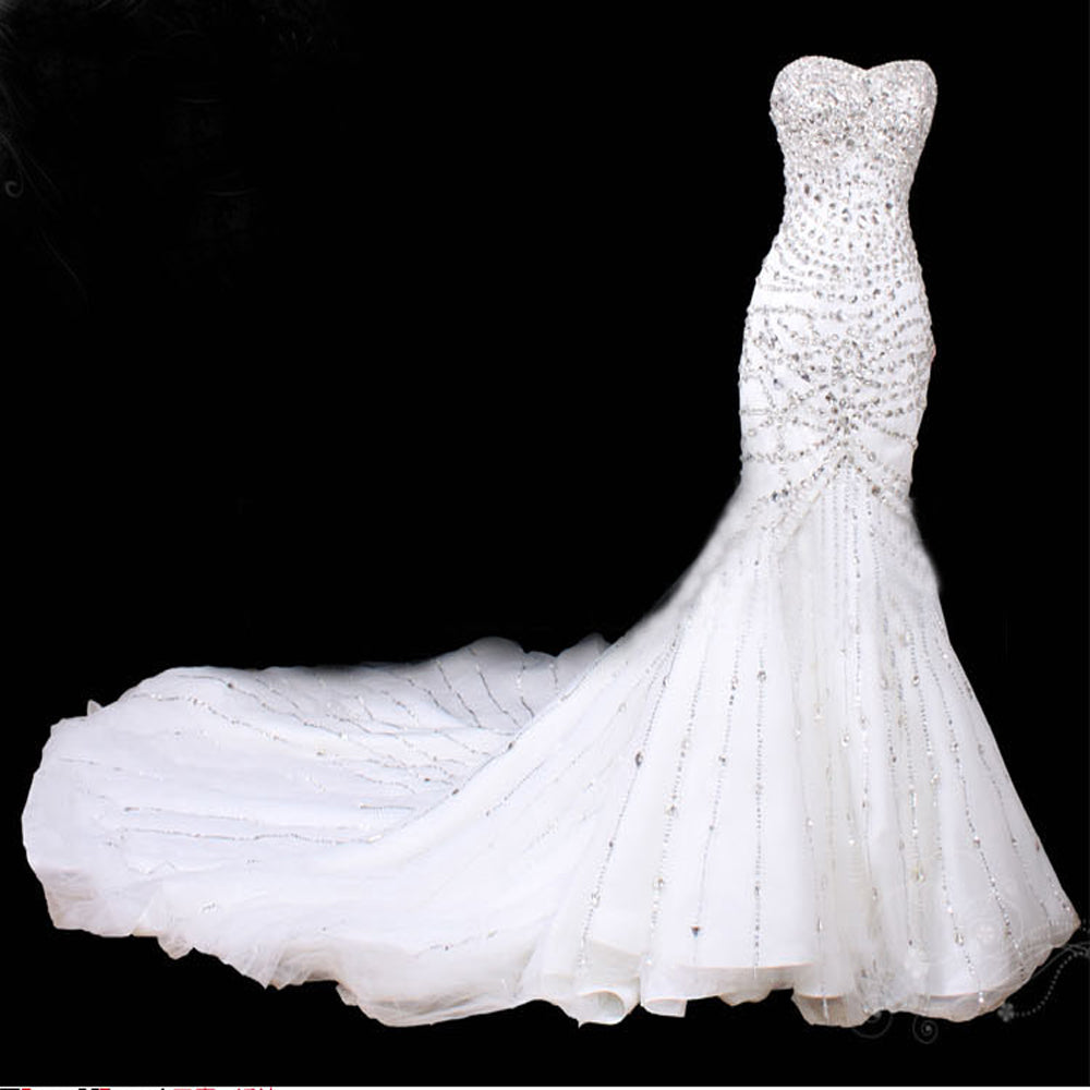 Glitter White Mermaid Wedding Dresses Crystal Cathedral Train Lebanon Strapless China Bride Bridal Gowns Real Photo Bead
