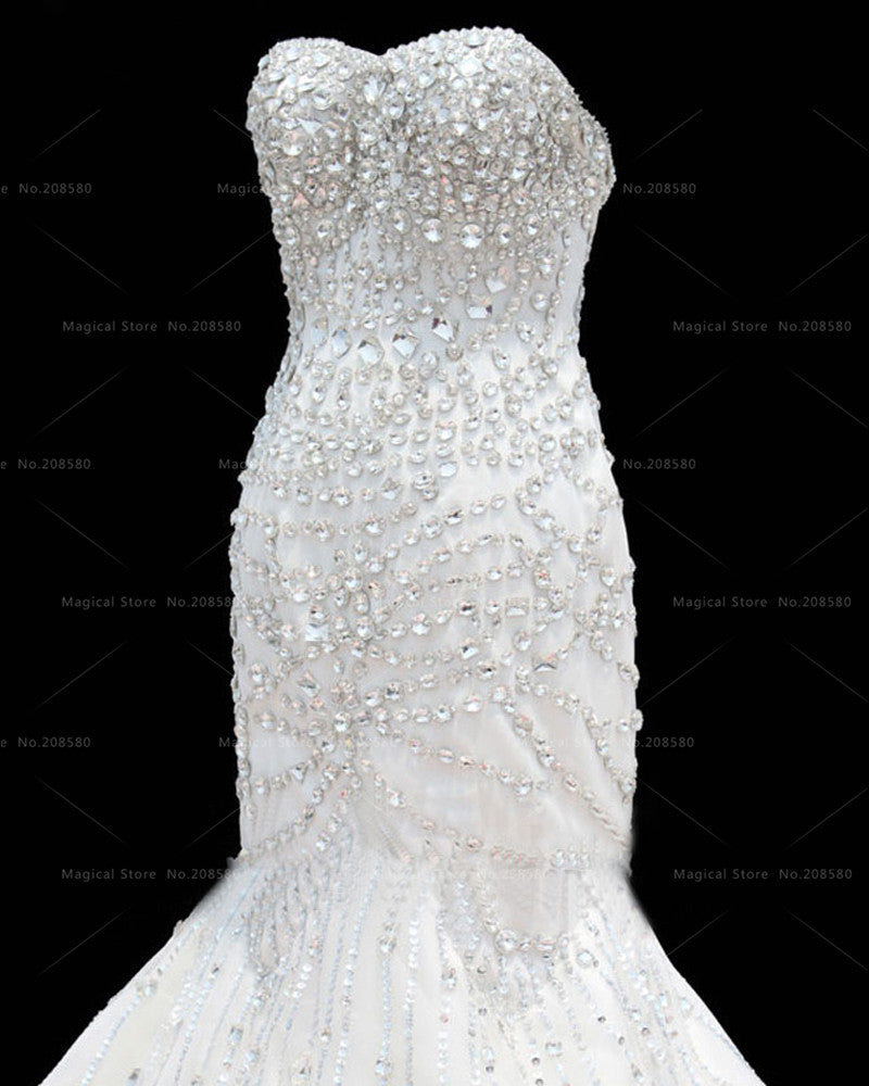 Glitter White Mermaid Wedding Dresses Crystal Cathedral Train ...