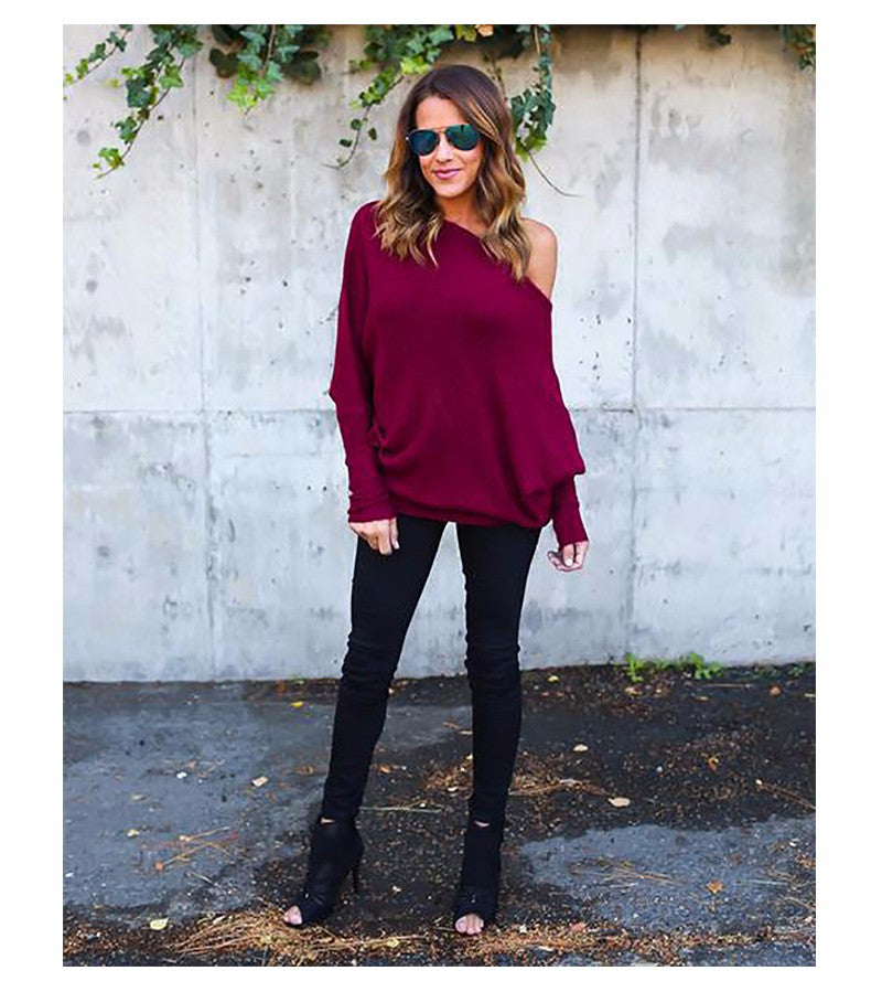 ... Autumn Women Tops Series Off Shoulder Sexy Top Tees Knitted Thin  Sweater Tees Autumn Casaul T ... cfda44da9