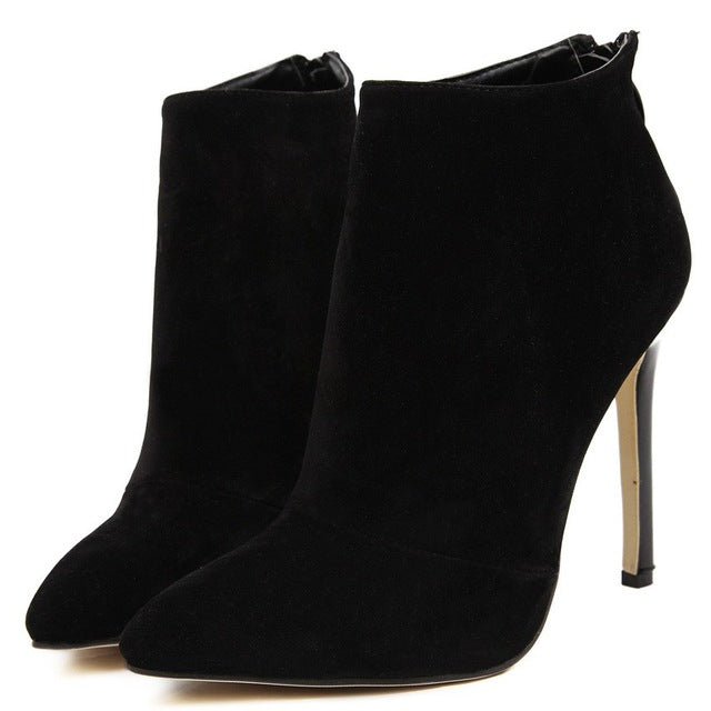 Women Elegant Classical Autumn Winter Warm Fur Pointed Toe Zipper Ankle Short Thin High Heels Boots Female Booties