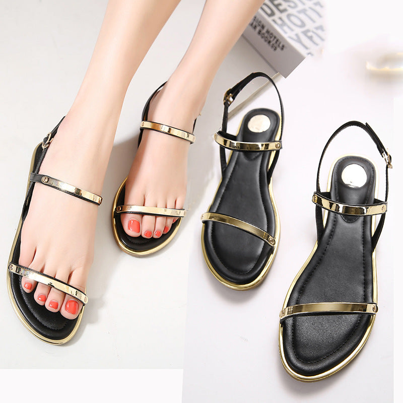Comfortable Ankle Strap Flat Casual Sandals Women High Quality Buckle Strap Sandals