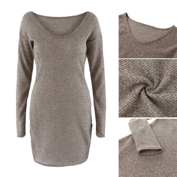 Sexy Long Sleeve V Neck Club Women Dress Slim Bodycon Knitted Sweater Knee-Length Party Night Dresses