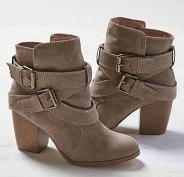 Autumn Winter Women Casual Suede Leather Ankle High Heel Buckle Boots