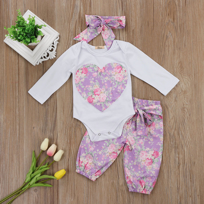Lovely Newborn Baby Girl Clothing Set Long Sleeve Heart Romper Tops+Purple Floral Long Pant Headband 3PCS Kids Clothing Set