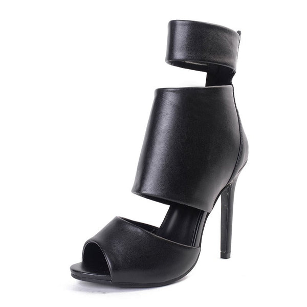 Cut-out Open Toe High-heeled Shoes Woman Sandals Sexy Dress Shoes