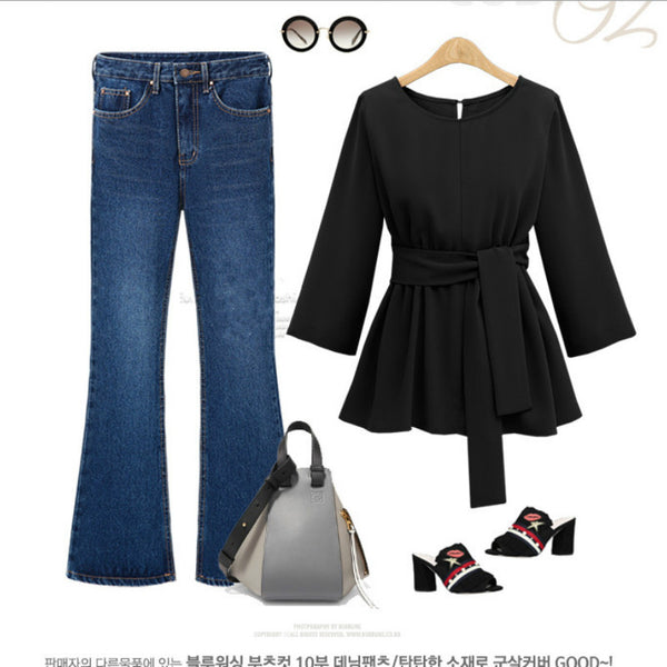 Chiffon Shirt Women Blouses Bow Peplum Autumn 3/4Sleeve Women Blouse