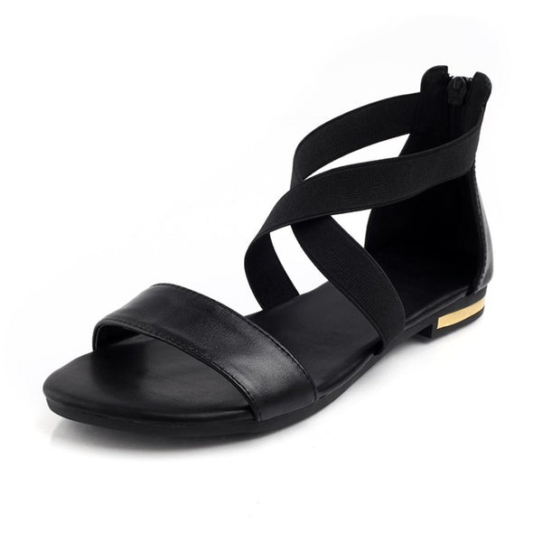 Leather Women Sandals Fashion Summer Sweet Women Flats Heel Sandals Ladies Shoes Black