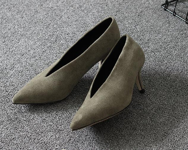 Pointed Toe Thin Heel Woman Shoes Deep V Design Lady Fashion Shoes Elegant Women Shoes